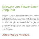 Webinar: Relevanz von Blower-Door-Tests zum richtigen Zeitpunkt